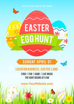 Easter egg hunt poster vector illustration. Colorful Easter egg with spring meadow.