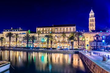 Split city night landmarks. / Scenic view at evening time in coastal town Split, famous european summer travel destination in Europe, Croatia.