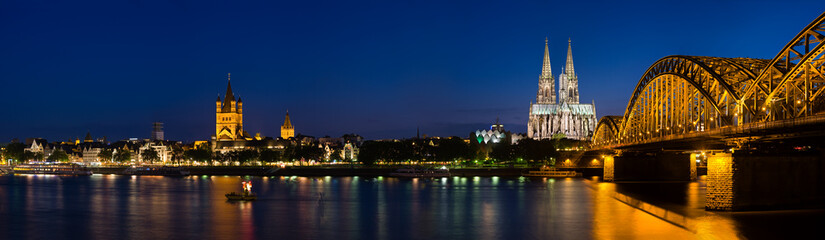 Cologne Cathedral Panorama At Night, Germany