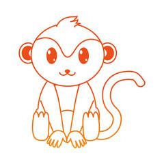 orange line monkey cute wild animal character