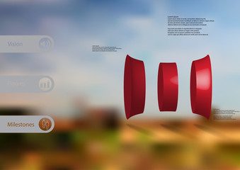 3D illustration infographic template with curved cylinder vertically divided to three parts