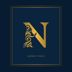 Gold Elegant letter N. Graceful royal style. Calligraphic beautiful logo. Vintage drawn emblem for book design, brand name, business card, Restaurant, Boutique, Hotel. Vector illustration