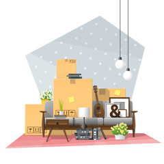 Moving home concept background with cardboard boxes and furniture in new living room , vector , illustration