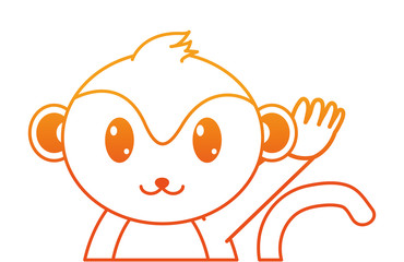 orange line adorable monkey cute animal character