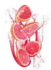 grapefruit slices in juice splash isolated on a white background