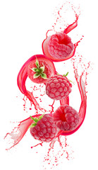 raspberries in juice splash isolated on a white background
