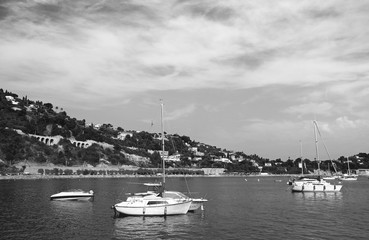 Small sail boats on the French Riviera