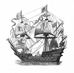Galleon, large, multi-decked sailing ship (from Spamers Illustrierte Weltgeschichte, 1894, 5[1], 649)