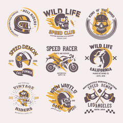 Biker logo vector rider on motorcycle or bike and speed motorcyclist racer on logotype motor emblem illustration racing set isolated on white background