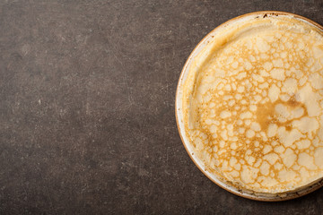 Homemade pancakes on kitchen table
