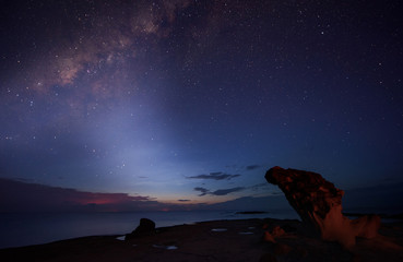 starry night sky with milky way. image contain soft focus, blur and noise due to long expose and high iso.