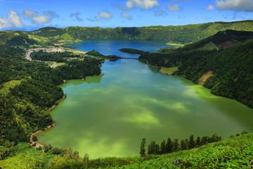 Fototapeta Volcanic caldeira of Sete Cidades in Sao Miguel island, Azores Archipelago, Poprtugal, Europe