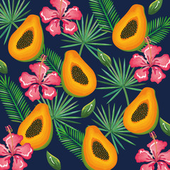 tropical garden with papaya vector illustration design fruits, leaves and flowers, summer and exotic concept