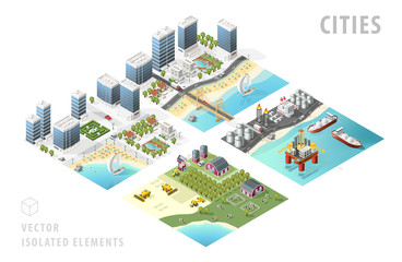Set of Isolated Isometric Realistic City Maps. Elements with Shadows on White Background