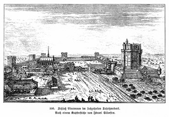Château de Vincennes, french royal fortress at 17th century, copper engraving by Israel Silvestre (from Spamers Illustrierte Weltgeschichte, 1894, 5[1], 659)