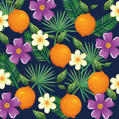 tropical garden with orange vector illustration design fruits, leaves and flowers, summer and exotic concept