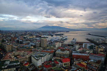 Mount Vesuvius is seen covered by snow, in Naples