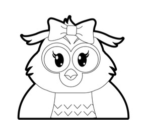 outline adorable female owl cute animal