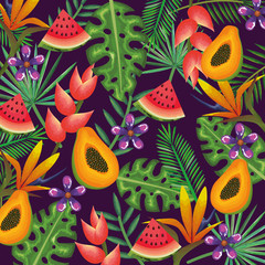 tropical garden with papaya and watermelon vector illustration design fruits, leaves and flowers, summer and exotic concept