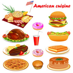 Illustration of American cuisine with steak, turkey, punkake, donuts, soup