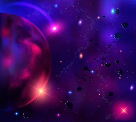 Illustration cosmic background with asteroids, meteorites, stars and planet