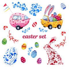 Easter watercolor hand drawn set with easter cars