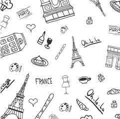 France and Paris Hand drawn travel doodles. Vector illustration