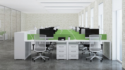 Office space. Design of office. 3D rendering.