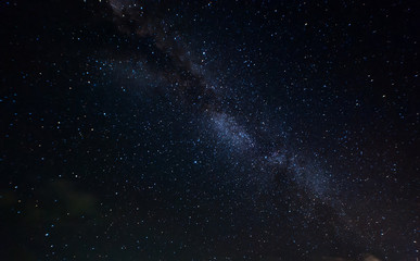 starry night and milky way galaxy night photograph. image contain soft  focus, blur and noise due to long expose and high iso.