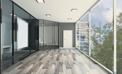 Front view of an office interior with a row of dark wood tables. 3D rendering.. Blank paintings