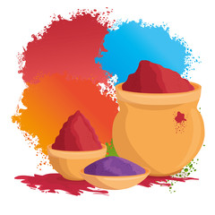 happy holi festival colors set icons vector illustration design