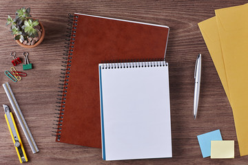 Office Workspace. Top View of a Business Workplace. Wooden Desk Table, Pen, Pencil, a Blank Notebook, Envelope, Plant Pot, Clips. Copy space for text or Image