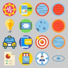 icon set about Transportation. with chart, target and blank