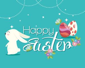 eggs painted and rabbit easter celebration vector illustration design