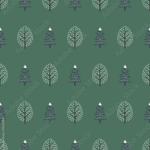 cute winter trees seamless pattern happy new year background vector design for winter holidays