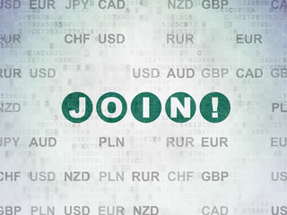 Finance concept: Painted green text Join! on Digital Data Paper background with Currency