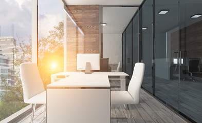 Open space office interior with like conference room. Mockup. 3D rendering. Sunset