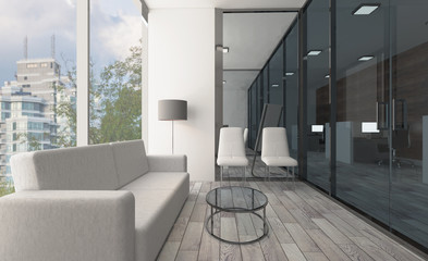 Front view of an office interior with a row of dark wood tables. 3D rendering.