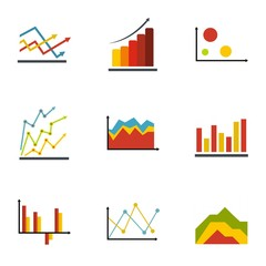 Economic table icons set. flat set of 9 economic table vector icons for web isolated on white background