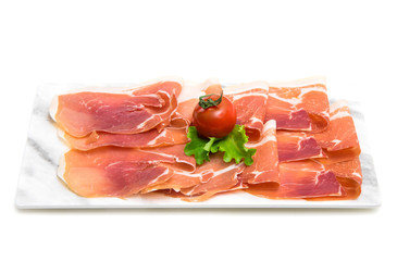 marble dish with raw ham