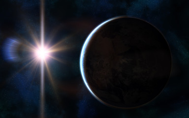 Solar system. Earth in sunlight glare. Space landscape. Image in 5K resolution for desktop wallpaper. Elements of the image are furnished by NASA