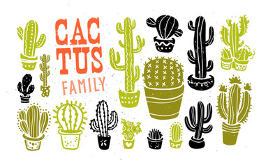 Vector collection of hand drawn cactus sketch collection isolated on white textured background. Flat cactus icon set. Nature elements illustration.