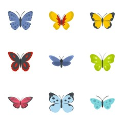 Butterfly icons set. flat set of 9 butterfly vector icons for web isolated on white background
