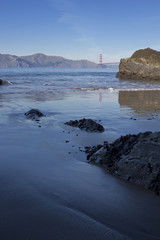 China Beach Shoreline with The Golden Gate Bridge