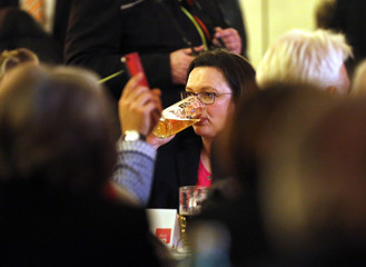 Nahles of Social Democratic Party (SPD) drinks a beer during the traditional Ash Wednesday party meeting in Schwerte