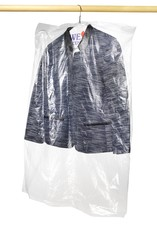 Blazer in clear plastic dry cleaning bag hanging on rod