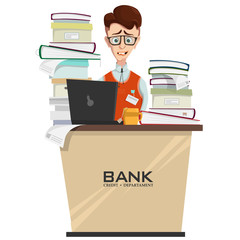 Vector illustration of credit department manager in workplace with heap of documents and folders on table, bank employee worried about deadline. Crisis and stress at work, concept in cartoon style