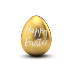 Gold and white happy easter luxury easter egg. 3D Rendering