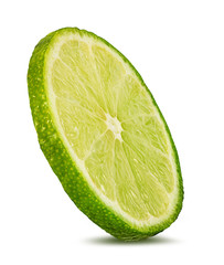 Fresh lime slices isolated on white background with clipping path