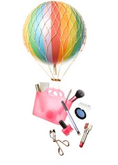 Purse filled with cosmetics hanging from balloon with mesh covering